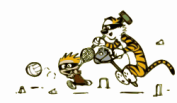 Calvin and Hobbes playing Calvinball