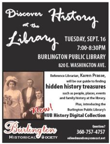Discover Burlington History Program Sept 16 7 pm at the Burlington Library